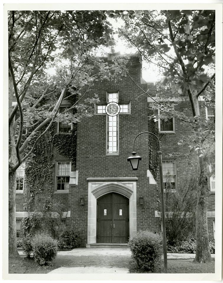 The doors of McShain Hall, La Salle University. Photo from the La Salle University archives: https://www.facebook.com/lasallearchives/photos/a.380306425444374/760945437380469/?type=3&theater